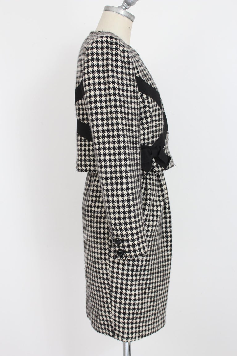 Valentino Boutique Black White Wool Houndstooth Evening Skirt Suit 1980s In Excellent Condition For Sale In Brindisi, Bt