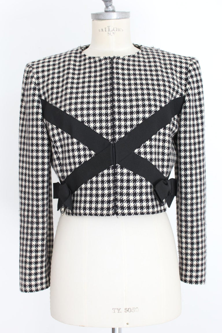 Valentino Boutique Black White Wool Houndstooth Evening Skirt Suit 1980s For Sale 1