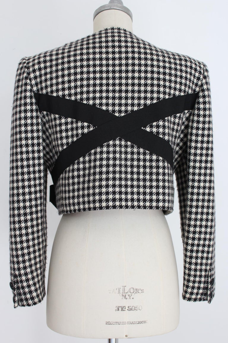 Valentino Boutique Black White Wool Houndstooth Evening Skirt Suit 1980s For Sale 2