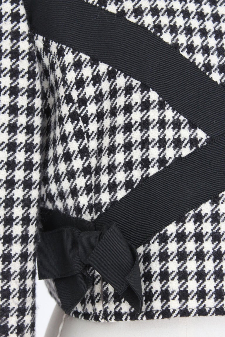 Valentino Boutique Black White Wool Houndstooth Evening Skirt Suit 1980s For Sale 3