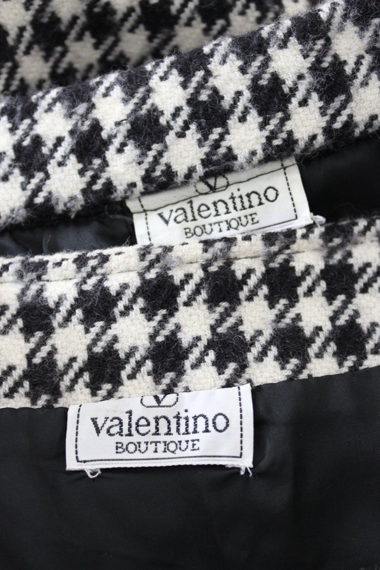 Valentino Boutique Black White Wool Houndstooth Evening Skirt Suit 1980s For Sale 5