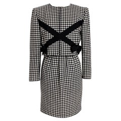 Valentino Boutique Black White Wool Houndstooth Evening Skirt Suit 1980s