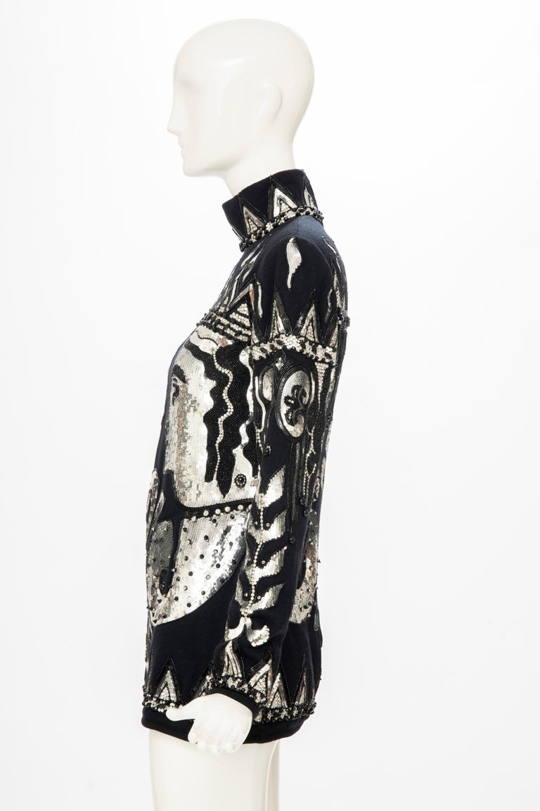 Valentino Boutique Black Wool Embroidered Silver Sequins Sweater, Fall 1989-90 For Sale 6