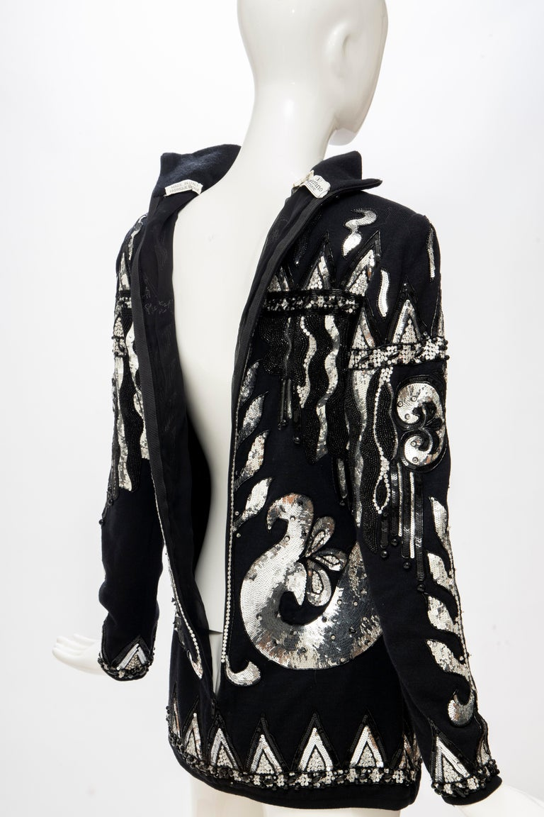 Valentino Boutique Black Wool Embroidered Silver Sequins Sweater, Fall 1989-90 For Sale 9