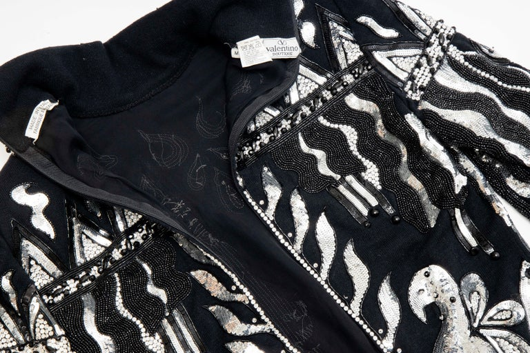 Valentino Boutique Black Wool Embroidered Silver Sequins Sweater, Fall 1989-90 For Sale 11