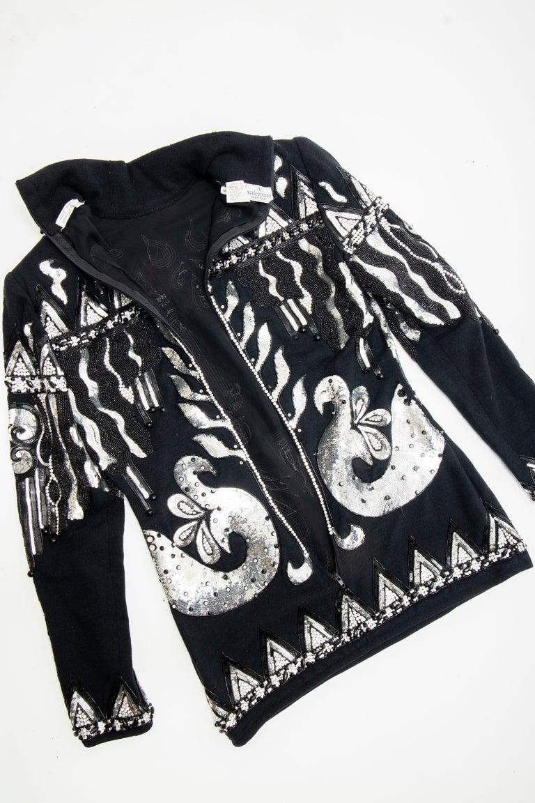 Valentino Boutique Black Wool Embroidered Silver Sequins Sweater, Fall 1989-90 For Sale 12