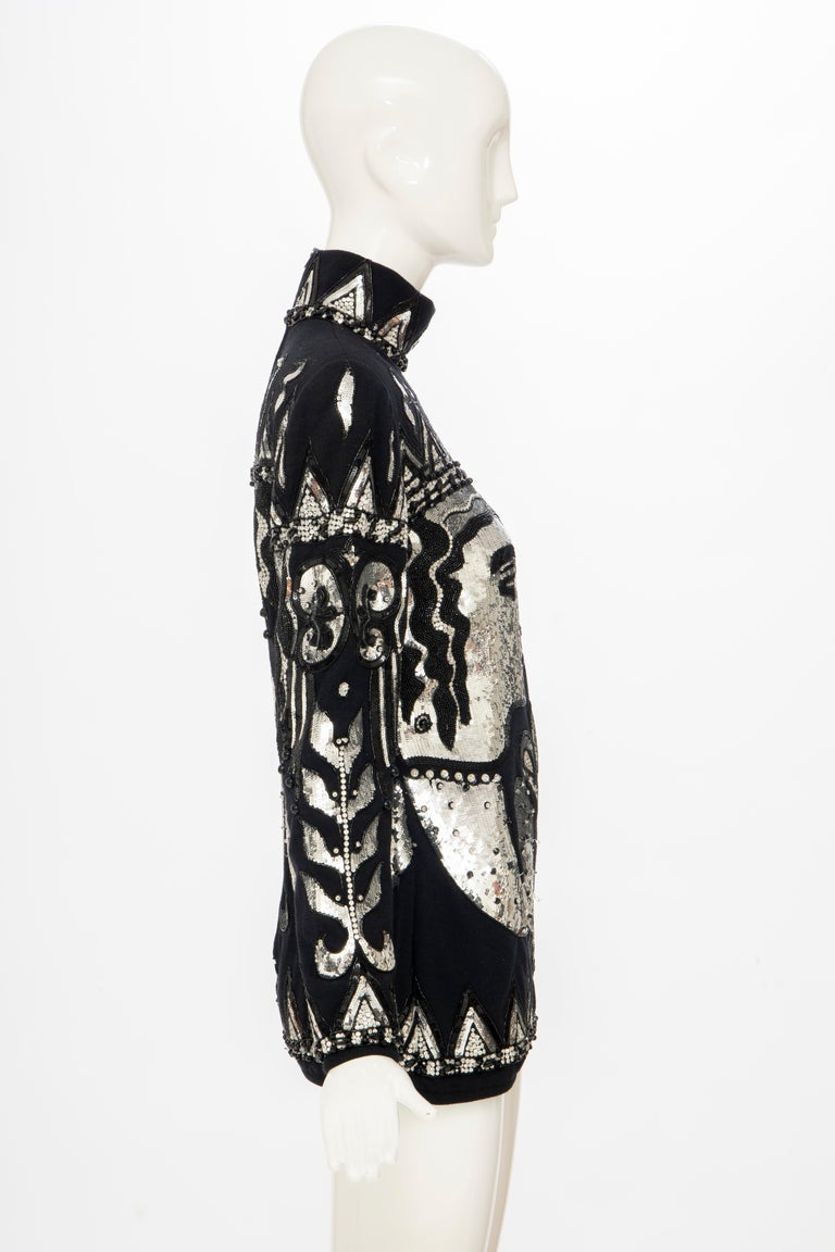 Valentino Boutique Black Wool Embroidered Silver Sequins Sweater, Fall 1989-90 For Sale 1