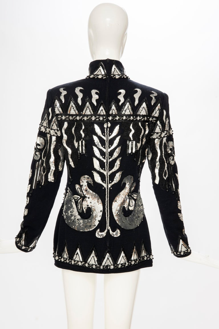 Valentino Boutique Black Wool Embroidered Silver Sequins Sweater, Fall 1989-90 For Sale 3