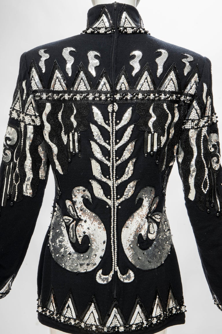 Valentino Boutique Black Wool Embroidered Silver Sequins Sweater, Fall 1989-90 For Sale 4