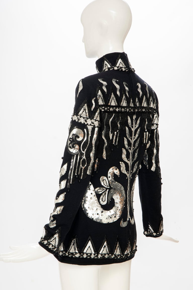 Valentino Boutique Black Wool Embroidered Silver Sequins Sweater, Fall 1989-90 For Sale 5
