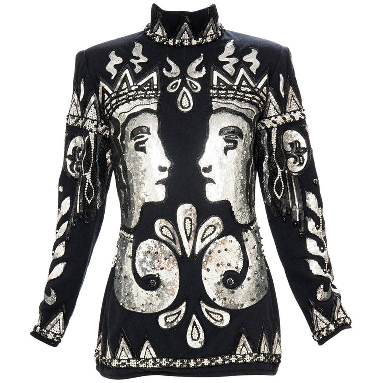 Valentino Boutique Black Wool Embroidered Silver Sequins Sweater, Fall 1989-90 For Sale