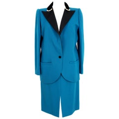Valentino Boutique Blue Black Wool Velvet Swarosky Evening Skirt Suit