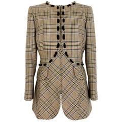 Valentino Boutique Brown Beige Wool Houndstooth Jacket 1980s