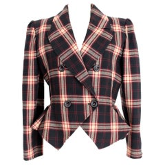 Valentino Boutique Brown Tartan Wool Check Short Cropped Jacket 1980s