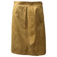Valentino Boutique Camel Embossed leather skirt-4