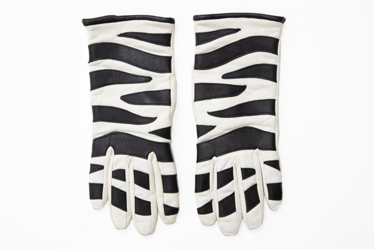 Women's Valentino Boutique Chamois Zebra-Motif Cashmere Lined Gloves, Spring, 1988 For Sale
