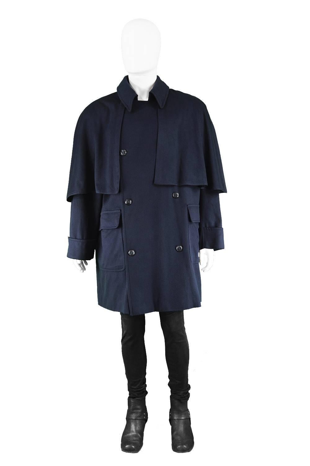 Valentino Boutique Menu0027s Cashmere u0026 Wool Vintage Cape Overcoat, 1980s Size:  Marked 50 which