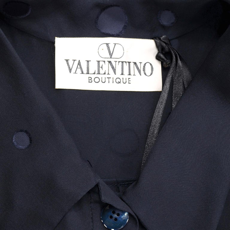 Valentino Boutique Midnight Blue Sheer Silk Blouse or Shirt Dress W Dots For Sale 7