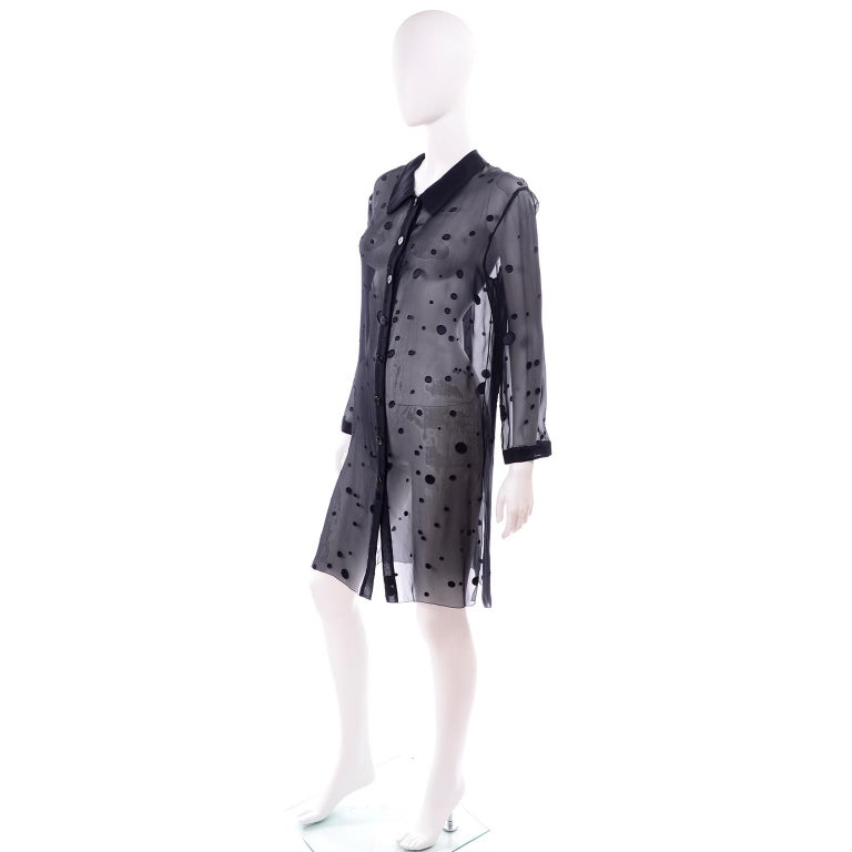 Valentino Boutique Midnight Blue Sheer Silk Blouse or Shirt Dress W Dots In Excellent Condition For Sale In Portland, OR