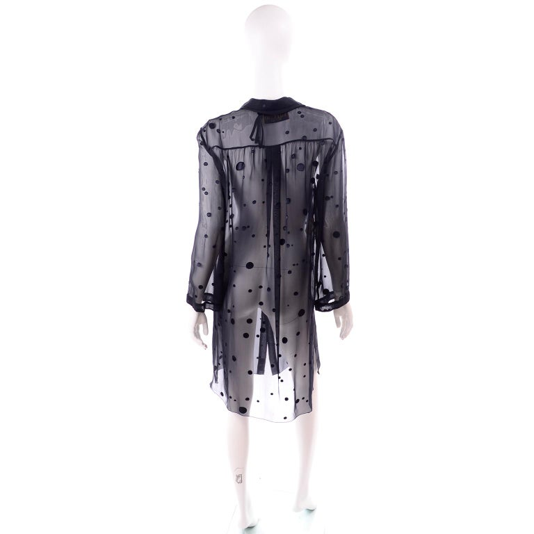 Women's Valentino Boutique Midnight Blue Sheer Silk Blouse or Shirt Dress W Dots For Sale