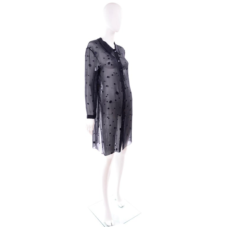 Valentino Boutique Midnight Blue Sheer Silk Blouse or Shirt Dress W Dots For Sale 1