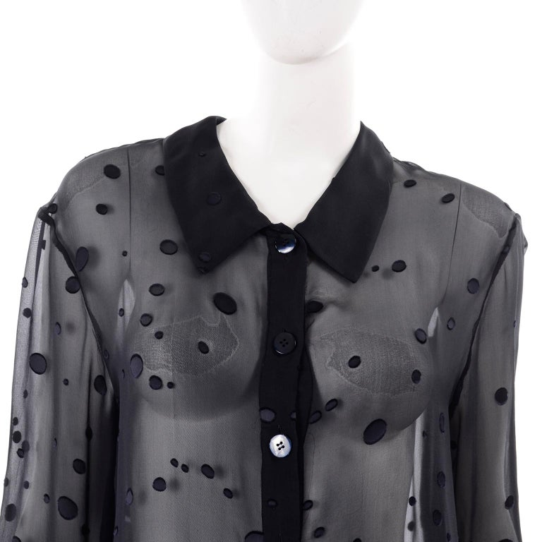 Valentino Boutique Midnight Blue Sheer Silk Blouse or Shirt Dress W Dots For Sale 2