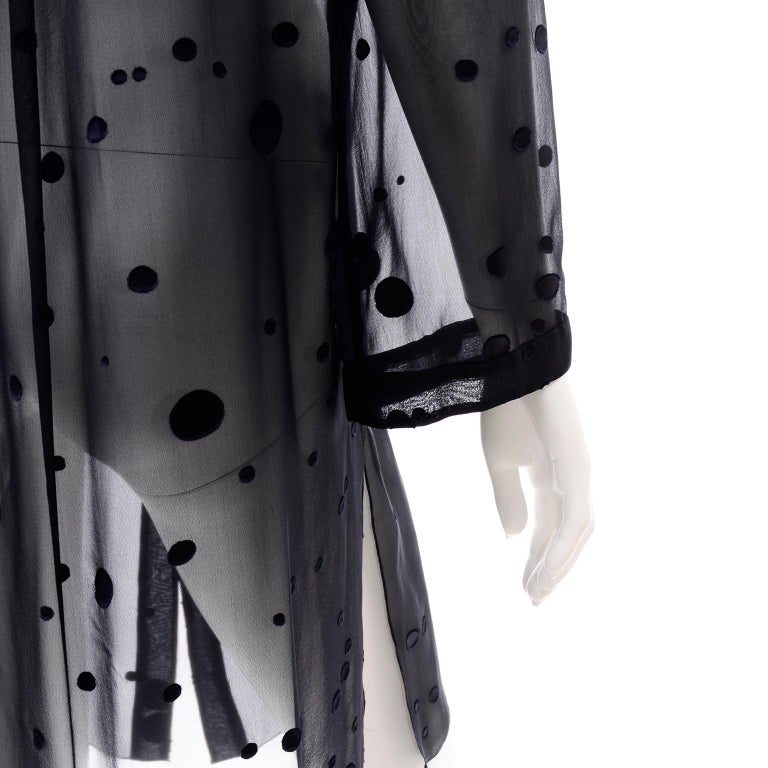 Valentino Boutique Midnight Blue Sheer Silk Blouse or Shirt Dress W Dots For Sale 3