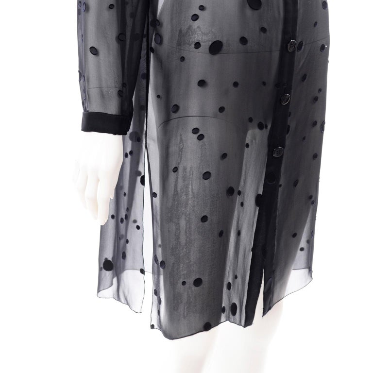 Valentino Boutique Midnight Blue Sheer Silk Blouse or Shirt Dress W Dots For Sale 4