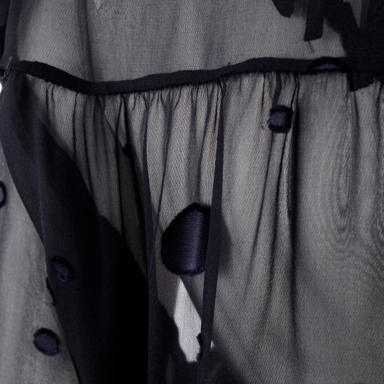 Valentino Boutique Midnight Blue Sheer Silk Blouse or Shirt Dress W Dots For Sale 5