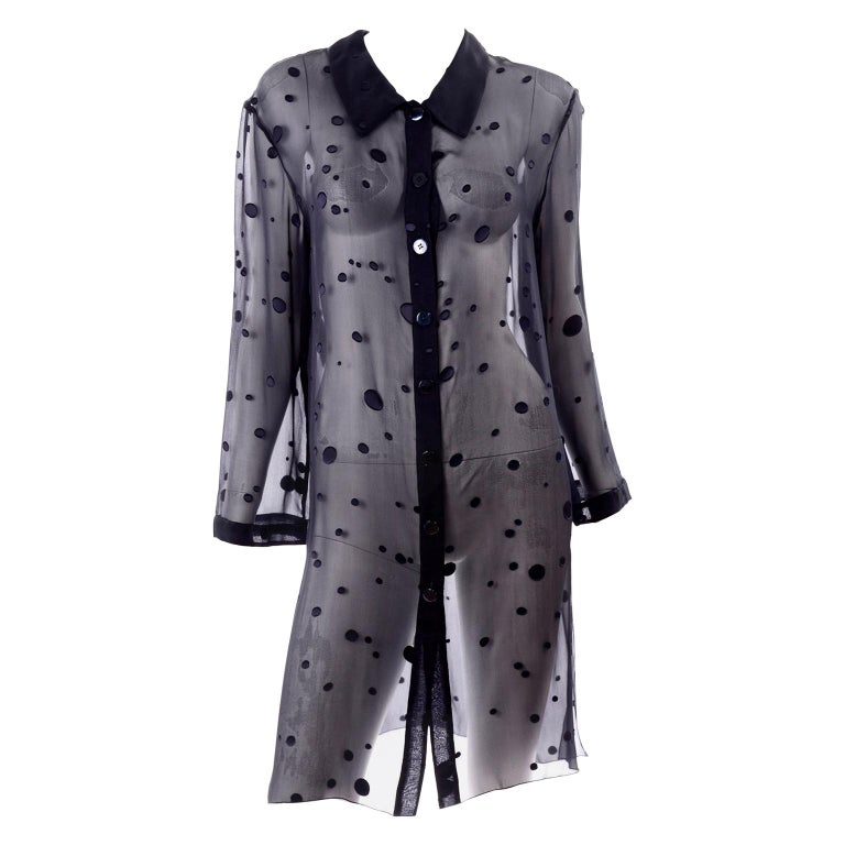 Valentino Boutique Midnight Blue Sheer Silk Blouse or Shirt Dress W Dots For Sale