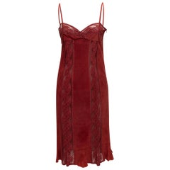 Valentino Boutique Red Suede & Lace Sleeveless Dress