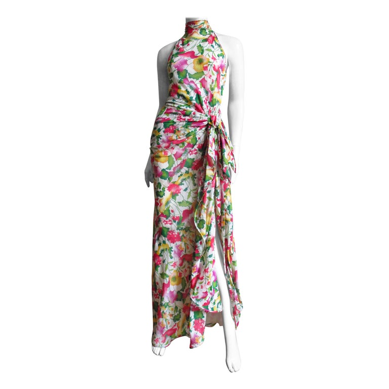 Valentino Boutique Silk Flower Gown For Sale