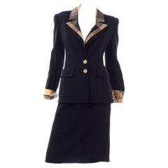 Valentino Boutique Vintage Black Boucle Skirt Suit With 2 Blazers Solid & Plaid