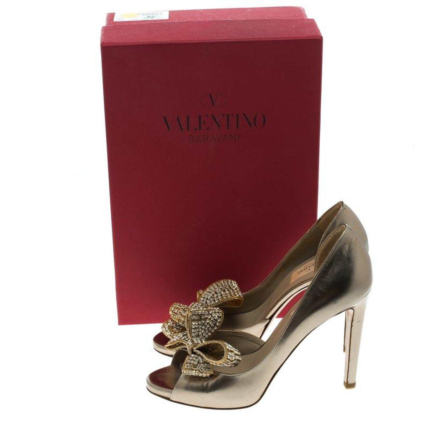 efdec6ce7 Valentino Bronze Metallic Leather Crystal Bow Detail D'orsay Pumps Size 38  at 1stdibs