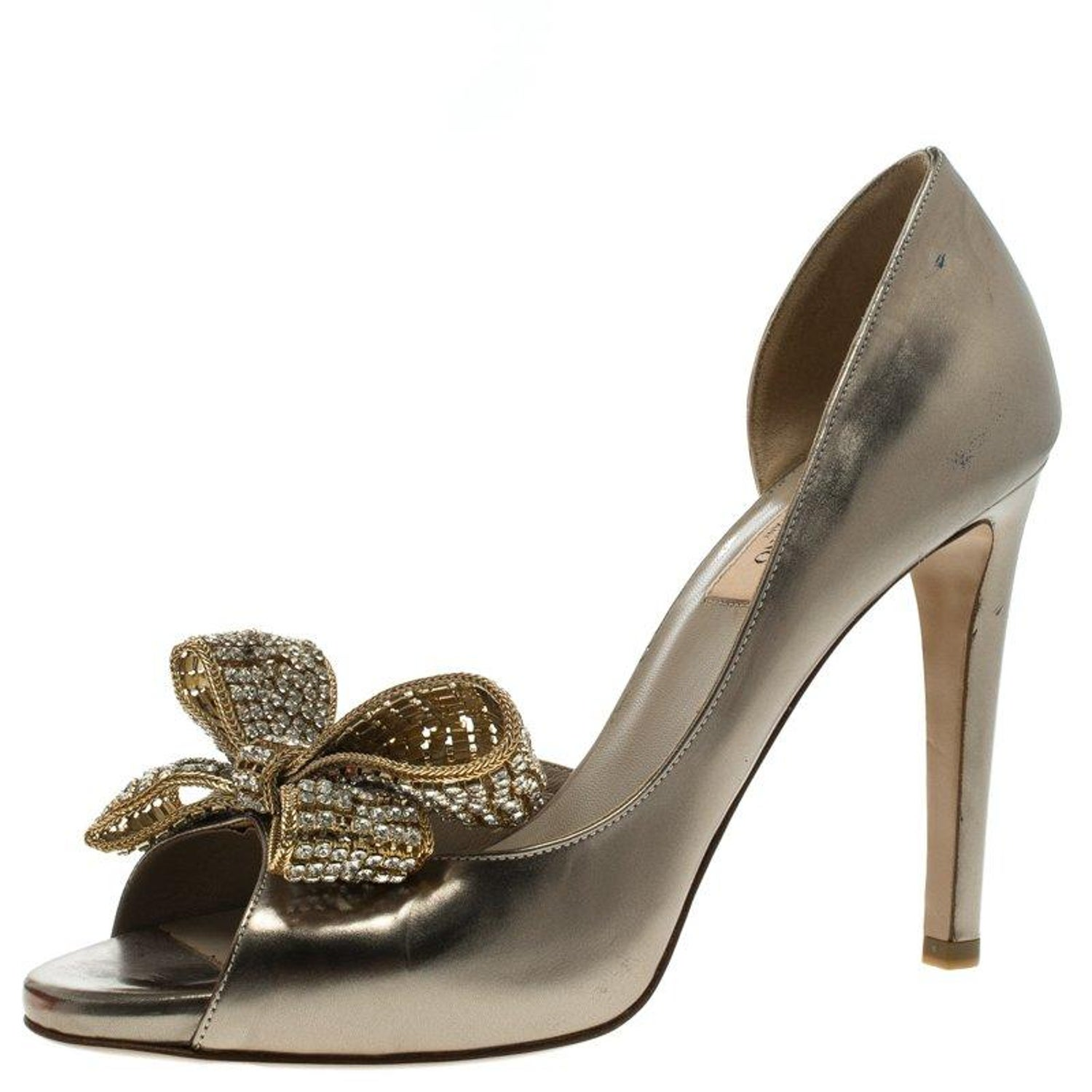 96936bf7bfc Valentino Bronze Metallic Leather Crystal Bow Detail D orsay Pumps Size 38  at 1stdibs