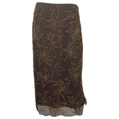 Valentino Brown Beaded Skirt - NWT
