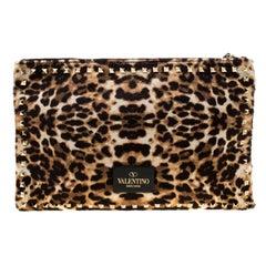 Valentino Brown/Black Leopard Print Calfhair Rockstud Clutch