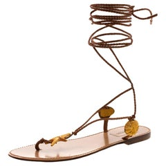 Valentino Brown Braided Leather Abyss Seashell Lace Up Flat Sandals Size 38