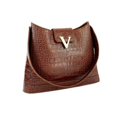 Valentino Brown Crocodile Print Leather Crossbody Bag 1990s Golden Insert