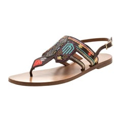 Valentino Brown Embroidered Leather Flat Sandals Size 37