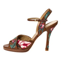 Valentino Brown Leather Embroidered Ankle Strap Sandals Size 39.5
