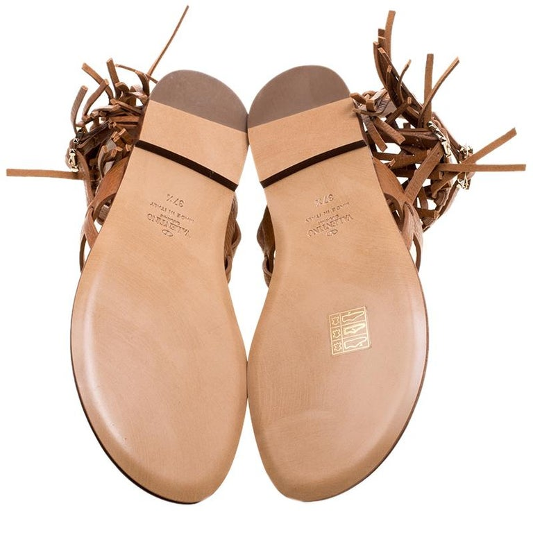 Women's Valentino Brown Leather Fringe Detail Ankle Wrap Flat Sandals Size 37.5 For Sale