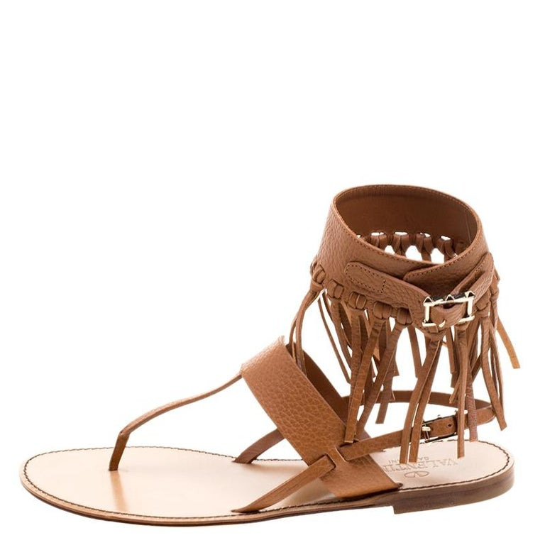 Valentino Brown Leather Fringe Detail Ankle Wrap Flat Sandals Size 37.5 For Sale 1