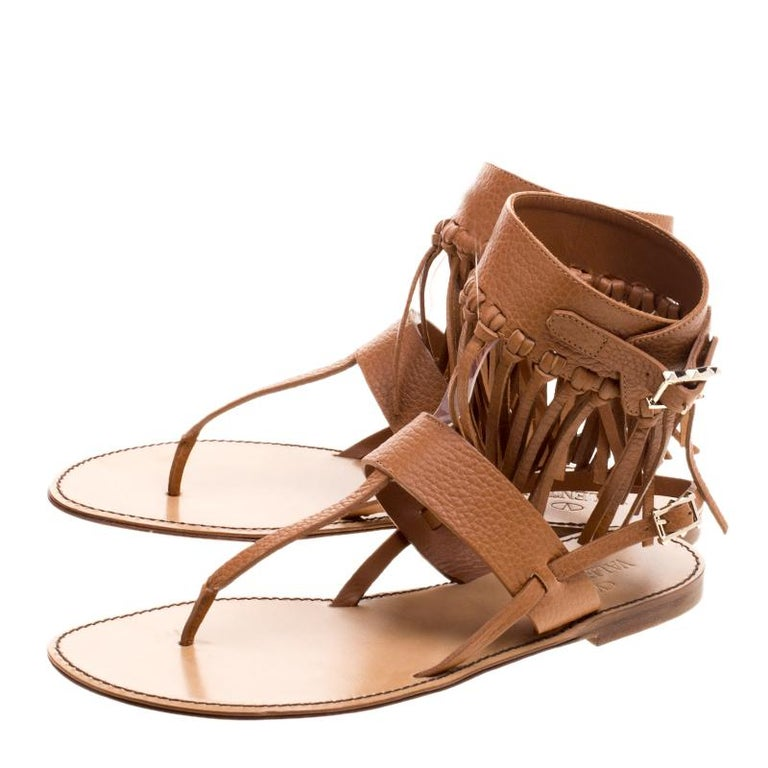 Valentino Brown Leather Fringe Detail Ankle Wrap Flat Sandals Size 37.5 For Sale 2