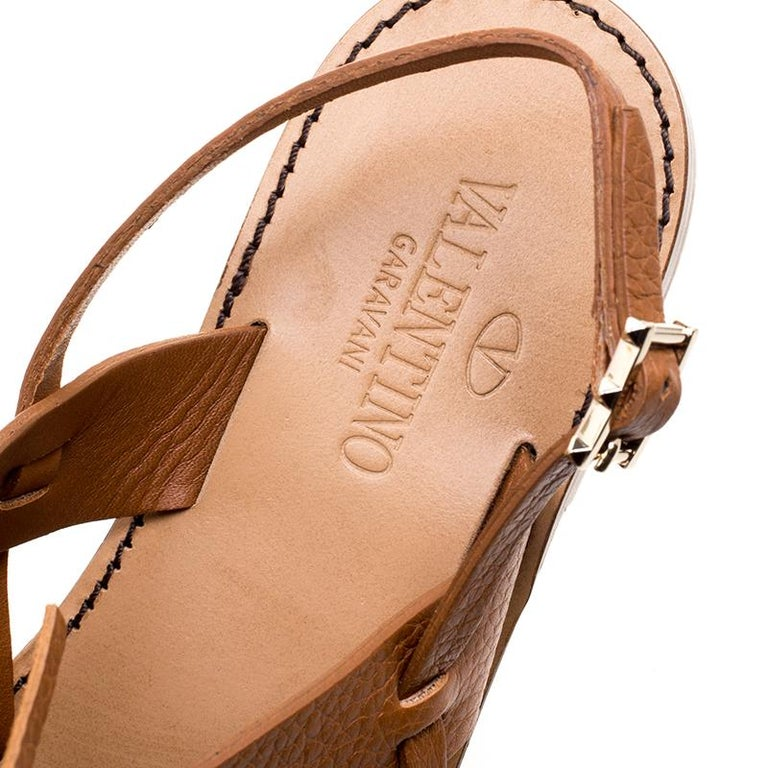 Valentino Brown Leather Fringe Detail Ankle Wrap Flat Sandals Size 37.5 For Sale 3