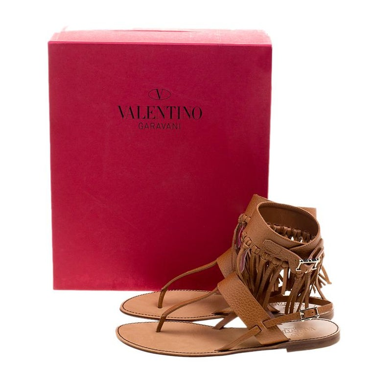 Valentino Brown Leather Fringe Detail Ankle Wrap Flat Sandals Size 37.5 For Sale 4