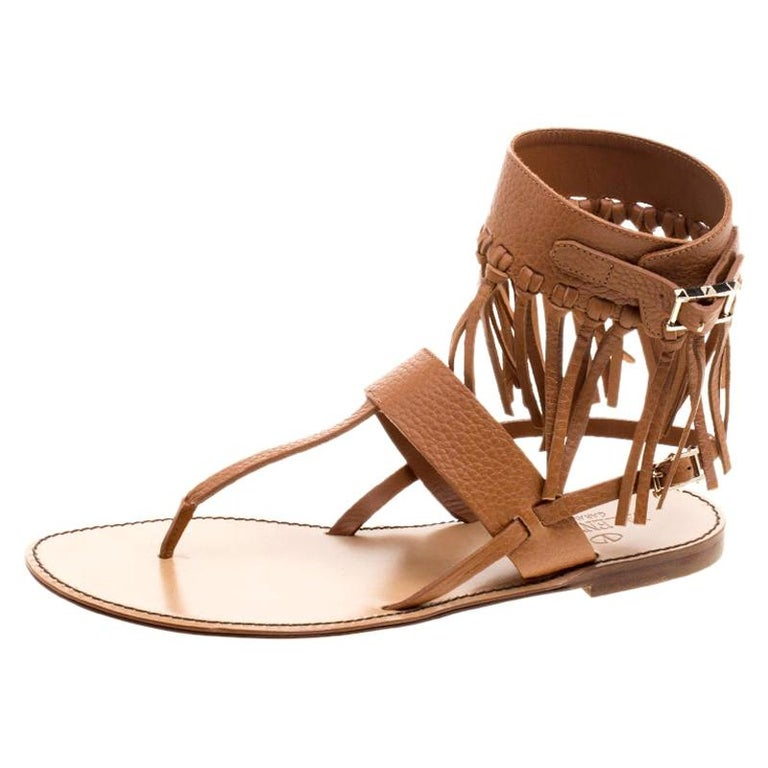 Valentino Brown Leather Fringe Detail Ankle Wrap Flat Sandals Size 37.5 For Sale