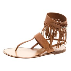 Valentino Brown Leather Fringe Detail Ankle Wrap Flat Sandals Size 37.5Valentino
