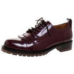 Valentino Brown Leather Fringe Detail Derby Size 37