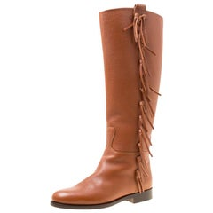 Valentino Brown Leather Fringe Detail Knee Length Boots Size 36.5